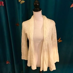ONE SEPTEMBER White Cable Knit LS Open Cardigan S